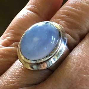 Chunky Sterling Silver Chalcedony Bezel Set Ring